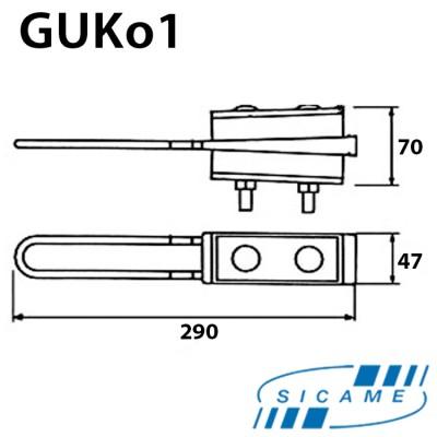 Натяжний затискач для кріплення 4-х жил СІП 4х(25х50) GUKo1